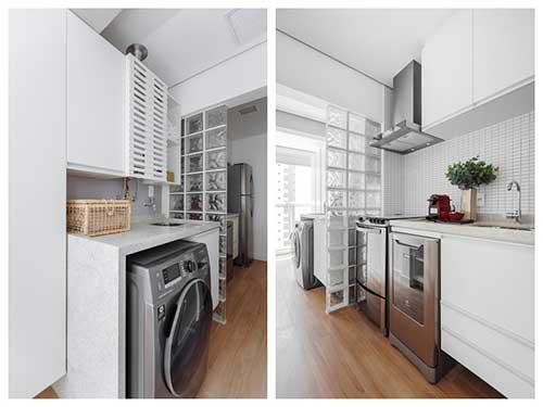 retrato de cozinha americana pequena conjugada a area de serviço