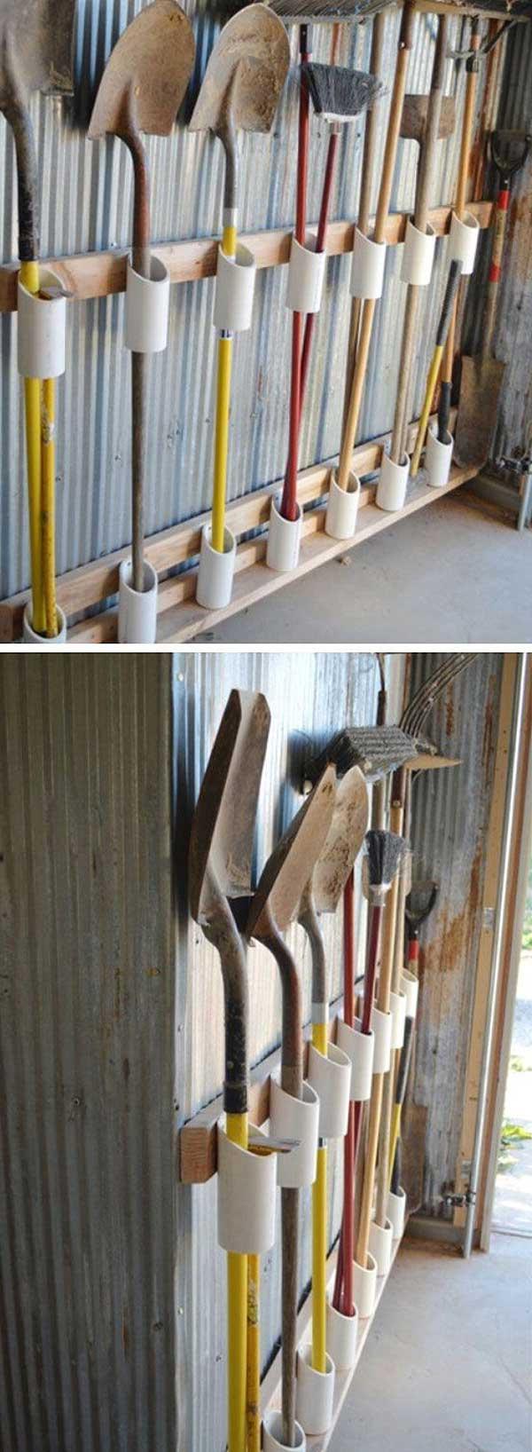 canos de PVC dão bons suportes pra ferramentas maiores