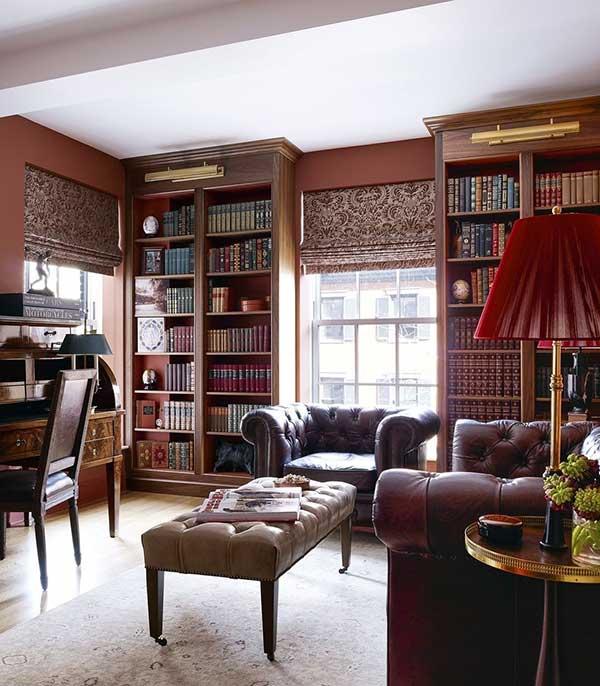para os mais conservadores, que tal uma elegante decoração vintage, com tons terrosos e muito couro?