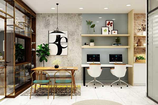 no conceito aberto, em que integração é tudo, até home office junto da sala de jantar e da cozinha dá pra fazer