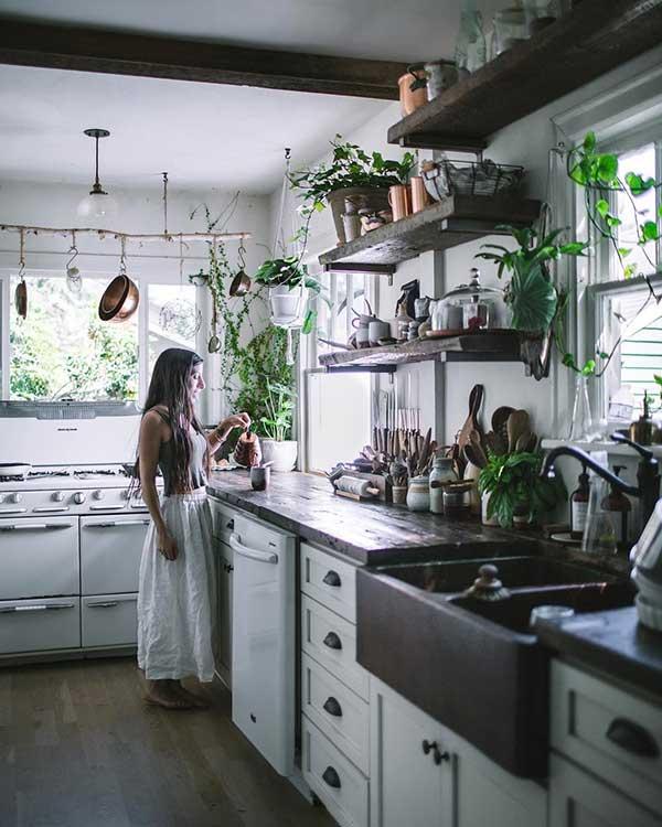 as plantas dão o toque de natureza que faz parte do ambiente em que a cozinha de fazenda está inserida