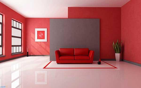 sala clean vermelha com piso branco - tendência moderna
