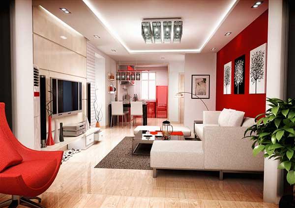 um projeto bem moderno com móveis e paredes no esquema vermelho e branco