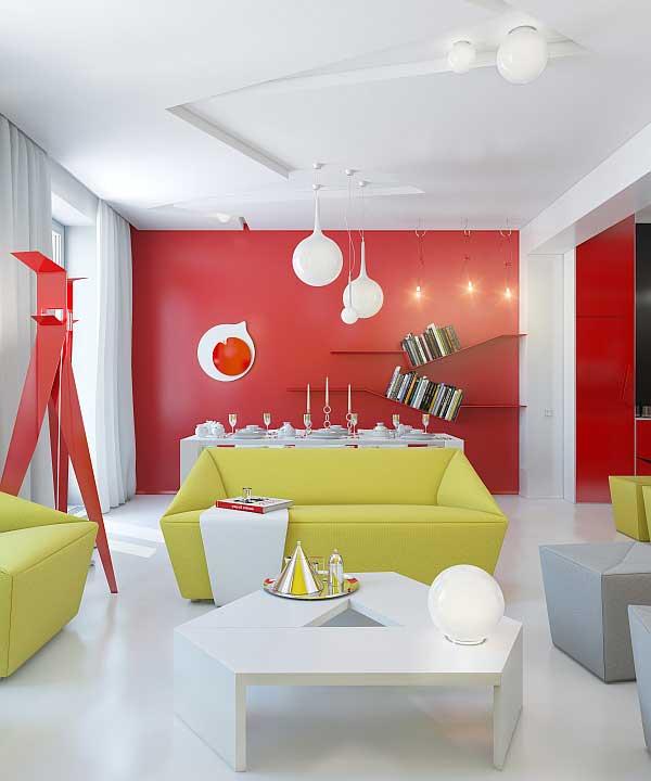 nesta foto, por outro lado, o vermelho e o amarelo aparecem misturados com muito branco, criando um espaço moderno, o que se percebe até mesmo pelo estilo de sofás e mesas