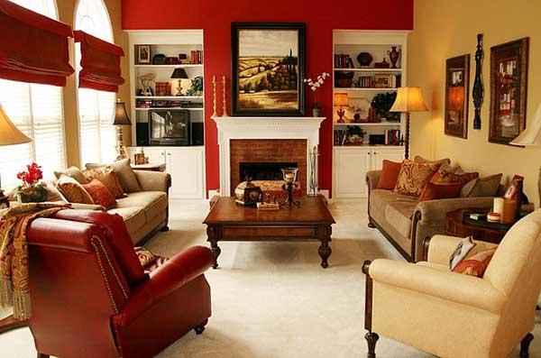 pinte apenas uma parede com vermelho caso o ambiente não seja muito grande para evitar sensação de sufocamento na decoração