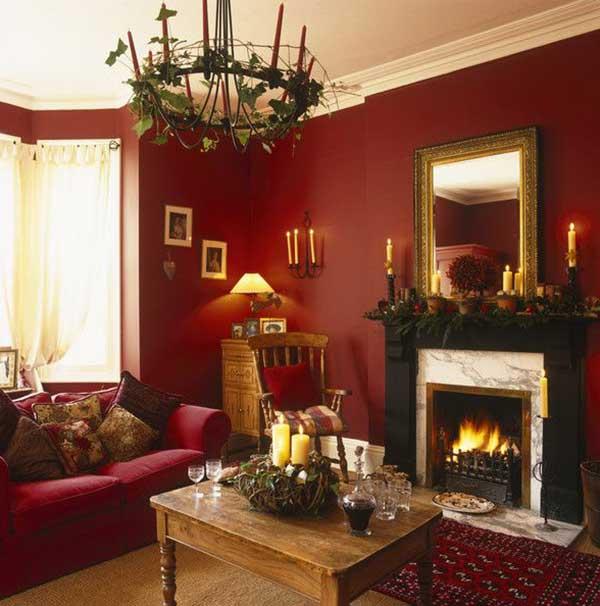 decoração vintage para sala com paredes e sofá vermelhos