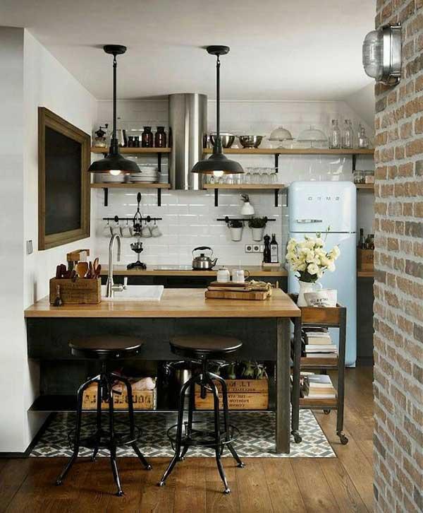 os tijolos também andam bem com outros tipos de decoração, como a industrial, que também serve para decorar cozinhas de sítios e fazendas